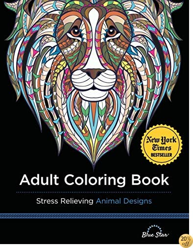 TAdult Coloring Book: Stress Relieving Animal Designs