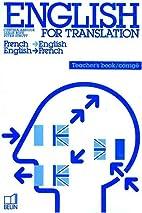 English for Translation. Livre du professeur…