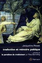 Traduction et mémoire poétique…