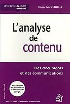 L'analyse de contenu des documents et des…