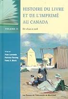 HISTOIRE DU LIVRE ET DE L'IMPRIMÉ AU CANADA…