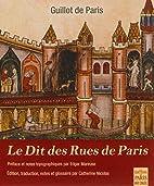 Le Dit des Rues de Paris by Guillot de Paris