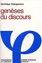 Geneses du discours (Philosophie et langage)…
