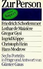 Zur Person : Friedrich Schorlemmer, Lothar…