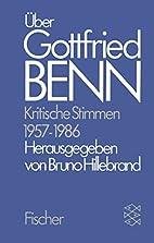Über Gottfried Benn. Kritische Stimmen…