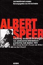 'Alles, was ich weiß' by Albert Speer