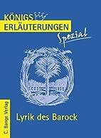 Lyrik des Barock: Interpretationen zu…