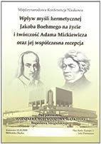 Wplyw mysli hermetycznej Jacoba Boehmego na…