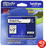 Brother 26.2-Foot Black on White 1/2-Inch Labeling Tape (TZ231)