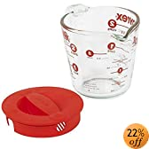 Pyrex Prepware 2-Cup Measuring Cup, Clear with Red Lid and Measurements