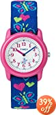 Timex Kids' T89001 Analog Hearts and Butterflies Elastic Fabric Strap Children's Watch