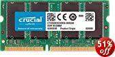 Crucial 1GB DDR-333MHz, PC2700, 200-PIN SODIMM 2.5V CL=2.5 Unbuffered Non-ECC Laptop Memory Upgrade - CT12864X335