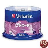 Verbatim 4.7 GB up to16x Branded Recordable Disc DVD+R - 50 Disc Spindle 95037