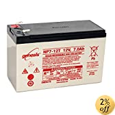 Yuasa (Enersys) Genesis NP7-12T - 12 Volt/7 Amp Hour Sealed Lead Acid Battery with 0.250 Fast-on Connector