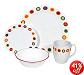 Corelle Livingware 16-Piece Dinnerware Set, Service for 4, Hot Dots