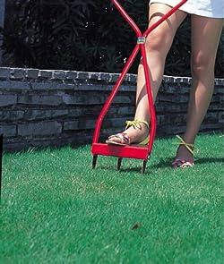 古い根を切り、芝生を活性化