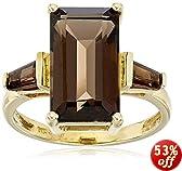 14k Yellow Gold Smoky-Quartz Three-Stone Ring, Size 7