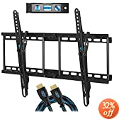 "Cheetah Mounts APTMM2B Tilt TV Wall Mount Bracket for 32-65"" TVs (Many from 20-75"") including LED, LCD and Plasma Flat Screens up to VESA 600 x 400 and 165lbs with Flush 1.5"" Profile. Includes a Twisted Veins 10' Braided HDMI Cable and 6"" 3-Axis Magnetic Bubble Level"
