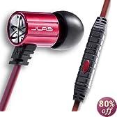 JLAB J4M Heavy Bass Metal In-Ear Headphones with Case, Black/Red