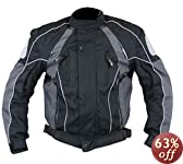 Men's Black and Grey Armored Motorcycle Tri-Tex Fabric Jackets - Size : Large