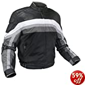 Men's Armored Black and Grey Tri-Tex Fabric With Leather Trim Jackets and Level-3 Advanced Armor - Size : Large