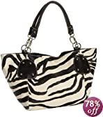 Black Large Vicky Zebra Print Faux Leather Satchel Bag Handbag Purse