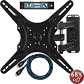 """Cheetah Mounts ALAMLB Articulating (20"""" Ext) TV and Monitor Wall Mount for 23-49"""" (some up to 55"""") LCD LED Plasma Flat Screens up to VESA 400x400. Full Ballhead Tilt, Swivel, and Rotation. Includes a 10' Twisted Veins HDMI Cable and Bubble Level"""