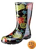 """Sloggers Women's  Rain and Garden Boot with """"All-Day-Comfort"""" Insole, Midsummer Black Print - Wo's size 9 - Style 5002BK09"""