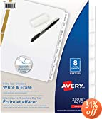 Avery Big Tab Write-On Dividers with Erasable Laminated Tabs, White, 8 Tabs, 1 Set (23078)