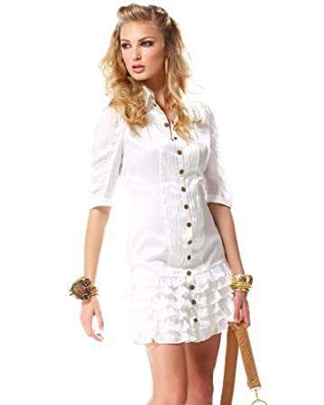 bebe Ruffle Ruched Silky Dress :  shirt dress white dress shirt dresses bebe