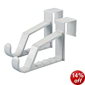 """Hangerworld Pack of 2 White Plastic Super Strong Over The Door Hooks for Coats Clothes Towels Etc - Each Holds 10 or More Garments on Hangers - 6.9""""(17.5cm)"""