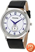 Pedre Men's 0556SX Large Silver-Tone with Black Leather Strap Watch
