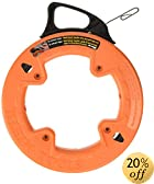 Klein Tools 56001 50-Feet Depth finder High Strength 1/8-Inch Wide Steel Fish Tape