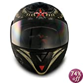 VCAN Blinc 210 Flat Black Extra Small Bluetooth 1.2 Enabled Full Modular Street Helmet with AVIATOR Graphics