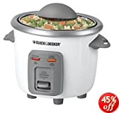 Black + Decker RC3303 3-Cup Cooked/1.5-Cup Uncooked Compact Rice Cooker, White