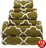 Divatex Home Fashions Reversible Morrocan Tile 6-Piece Jacquard Towel Set