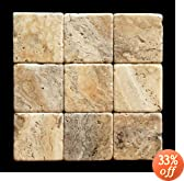 Philadelphia 4 X 4 Travertine Tumbled Tile - 4 pcs. Sample Set
