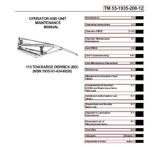 us-army-technical-manual-tm-55-1935-208-12-operator-and-unit-maintenance-manual-115-ton-barge-derrick-bd-nsn-1935-01-434-6826-2001