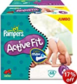 Pampers Active Fit Size 4 (15-40 lbs/7-18 kg) Nappies - 2 x Jumbo Packs of 68 (136 Nappies)