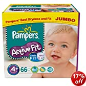 Pampers Active Fit Size 4+ (20-44 lbs/9-20 kg) Nappies - 2 x Jumbo Packs of 66 (132 Nappies) - Packaging Varies