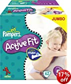 Pampers Active Fit Size 5 Junior Nappies - 2 x Jumbo Packs of 62 (124 Nappies)
