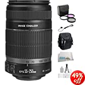 Canon EF-S 55-250mm f/4-5.6 IS Autofocus Lens + Filter Kit + Lens Cap Keeper + Cleaning Kit + Camera Holster Case