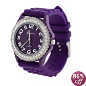 Purple Silicone Gel Ceramic Style Band Crystal Bezel Women's Watch