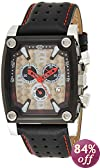 """Akribos XXIV Men's AKR415BK """"Conqueror"""" Stainless Steel Watch with Black Leather Strap"""