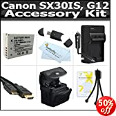 Accessory Kit For The Canon SX30IS SX30 IS Canon G12 Digital Camera Includes USB High Speed Card Reader + Extended Replacement NB-7L (1500mAH) Battery + Ac/Dc Charger + Case + Mini HDMI Cable + More