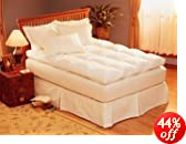 Pacific Coast® Luxe LoftTM Box Construction Feather Bed Queen 60x80 inch 224oz  Blue trim/white trim