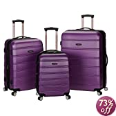 Rockland Luggage Melbourne 3 Piece Abs Luggage Set, Purple, Medium