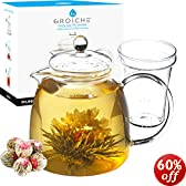 GROSCHE Munich 42 oz. Glass Infuser Teapot with 12 BLOOMING TEA GIFT SET and Included Tea Infuser, 1250 ml (42 fl oz) capcity
