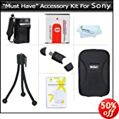 Must Have Accessory Kit for Sony DSC-HX5V DSC-H70 DSC-HX7V DSC-HX9V, DSC-H90, DSC-HX30V, DSC-HX20V, DSC-HX10V Digital Camera Includes Extended Replacement (1350 maH) NP-FG1 Battery + AC/DC Travel Charger + USB 2.0 Card Reader + Hard Case + More