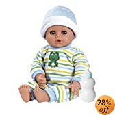 Adora Playtime Baby Doll 13-Inch Baby Boy Light Brown Skintone Brown Eyes Blue Green And White Romper With Matching Hat